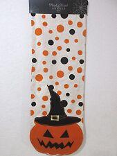 "Halloween Creepy Pumpkin Polka Dot Orange Black Table Runner 14 x 72"""