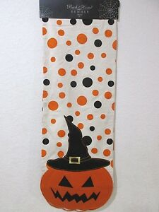 "Halloween Scary Pumpkin Polka Dot Orange Black Table Runner 14 x 72"""