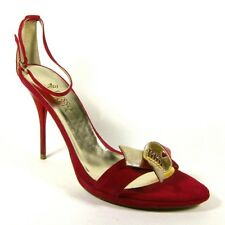 Italian Ladies Womens Red Gold Leather Suede Stiletto Sandals Size UK 7 EU 40