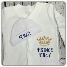 PERSONALISED Baby Sleepsuit Hat Gift Set Boy Girl Prince Princess Gro ANY NAME 1