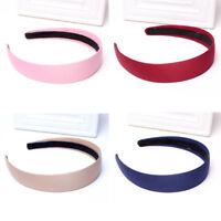 1X Plastic Headband Hair Band Satin Ribbon Fabric Covered Headwear BF