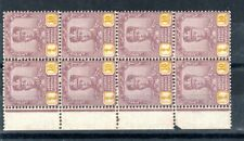 Malaysia - Johore 1941 10c thin striated paper MNH block of 8