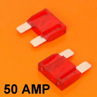 High Quality 2 x 50 Amp Maxi Blade Fuse Fuses Red 50A Car Van Bike Large Fuse