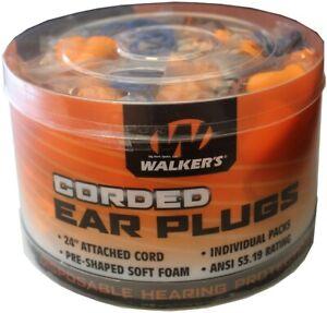 "GSM Walkers Foam Ear Plugs w/24"" Attached Cord NRR 25dB Orange 50Pk GWPCORDPLGBK"