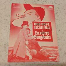 Fancy Pants Bob Hope Lucille Ball Bruce Cabot Vintage 1950 Danish Movie Program