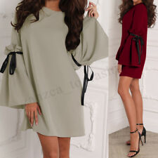 ZANZEA Women Bell Sleeve Mini Dress Bowknot Evening Party Shirt Dress Clubwear