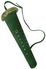 NEW TRADITIONAL GREEN SUEDE  LEATHER BACK ARROW QUIVER ARCHERY PRODUCTS  AQ168G