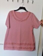 LOVELY PINK 100% COTTON TOP with LACE INSETS  SIZE 20  NEW