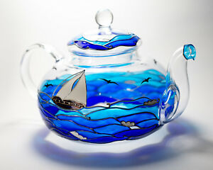 Hand Painted Teapot Ocean Blue Waves Boat Art Personalized Glass Tea Pot Infuser