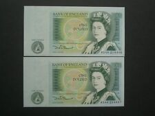 ****2 Fresh 'UNC' £1 Consecutive  British*** Somerset Banknotes***