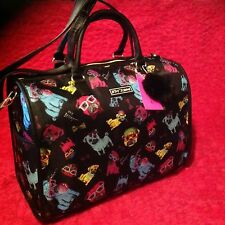 BETSEY JOHNSON BLACK MULTI SIGNATURE PUG DOG PRINT WEEKENDER TRAVEL DUFFLE BAG