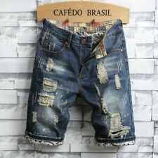 W40 Fashion Patchwork Ripped Mens Denim  Jeans Shorts