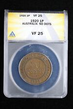 1920 1P Australia 1 Penny ANACS VF 25 No Dots