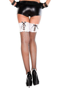 Sexy black and white lace ribbon stockings