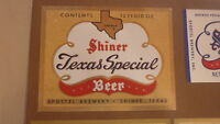 OLD 1970s USA BEER LABEL, SPOETZL BREWERY SHINER TEXAS, TEXAS SPECIAL 12 Oz