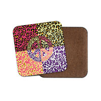 Leopard Print Peace Sign Coaster - Hippy Mum Auntie Sister Cool Fun Gift #14343