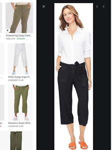 NYDJ NWT Women's Black Linen Blend Cargo Capri Pants 12