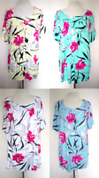 NEW LADIES FLORAL BLACK LILY FLORAL SMOCK TOP TUNIC PLUS SIZE 18-32 MADE IN UK