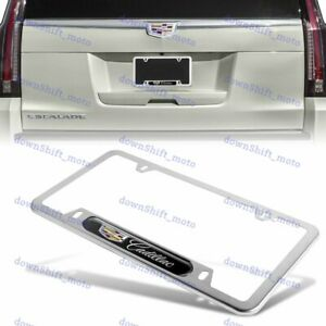 1PCS For CADILLAC Black Silver Metal Stainless Steel License Plate Frame NEW