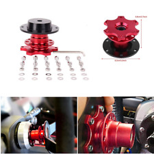 Car Steering Wheel Quick Release Hub Adapter Snap Off Boss Kit with Screws Brown