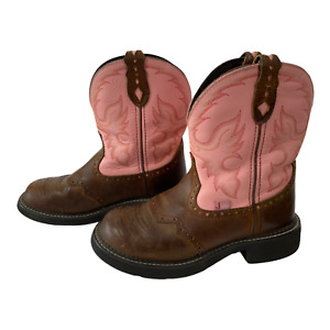 Justin Womens Sz 7.5 B Pink Brown  L9901 Leather Western Cowboy Boots