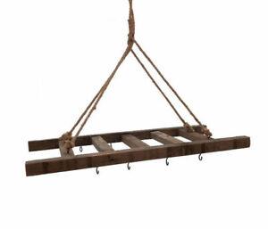 Holz Leiter zum Hängen - 10 Haken / 60x25 - Deko Hänge Brett Pflanzen Hänger
