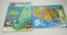 Puzzles-Lot of two 4-Pack (8 total) 25 pc US, Continents, Ocean, Zoo, Pirate