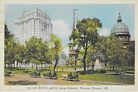 Ephemera Postcard Canada Montreal Sun Life Building and St. James Cathedral 1942
