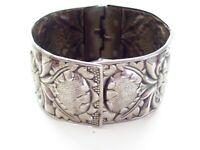 Vintage Art Nouveau Bracelet, Embossed Floral Hinged Bracelet, Repousse Floral