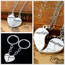Mother's Day Gift Set Mother and Daughter Forever Love Heart Necklace Keyring