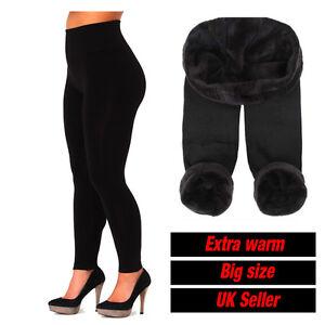 Womens Ladies New Thermal Winter Black Thick Fur Fleece Lined Legging 14-20 7309
