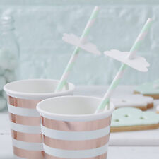 16 x Baby Shower Cloud Cannucce BIANCO/MENTA genere neutro Pretty Baby Shower