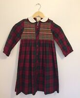 True Vintage Laura Ashley Dress Age 4 1980s 1990s Plaid Frill Button Made In UK