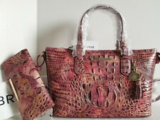 🌹Brahmin Mini Asher Croc Satchel Wisteria Marbleized Pink Red Bag + Wallet NWT