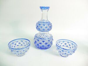 PAIR OF 19THC BACCARAT FLASHED BLUE TO CLEAR CRYSTAL CUT SALTS & OIL BOTTLE