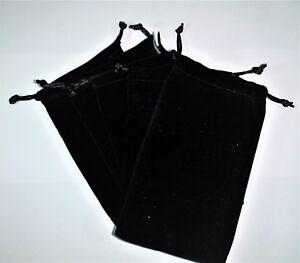 5 x Soft Black Velvet Drawstring Pouches Jewellery Wedding Pouch Bag 9 x 15cm