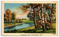 1941 Greetings from Vincennes, Indiana Postcard