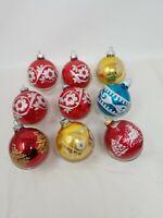 """Lot Of 9 Vintage Stencil Glitter Ornaments Shiny Brite 2.6"""""""