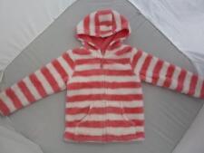 St u n n i n g  JOHN LEWIS Orange & White Stripy Furry Hooded Jacket 4-5y 5Y