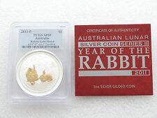 2011-p Australia Lunar Conejo $1 Un Dólar De Plata Oro 1 Oz moneda PCGS sp69