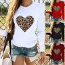 Women Long Sleeve O Neck Leopard Print Heart-shaped Tops Casual Blouse T-Shirts