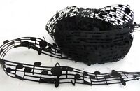 50 YARD ROLL MUSIC NOTES BLACK LACE RIBBON 1x ROLL Approx 50y FREE UK DELIVERY