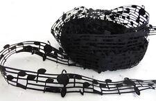 Notas de música 1m de Encaje Negro Cinta del Grosgrain