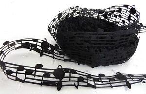 1m MUSIC NOTES BLACK LACE GROSGRAIN RIBBON 28mm