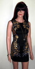 Black with Gold Mini Pencil Dress with Gold Foil Print Summer Dress Size 8-10