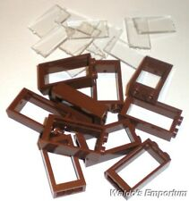 Lego WINDOW FRAME 1X2X3, REDDISH BROWN, with Clear Glass, 60593 Lot of 10, New