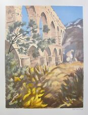 """VICTOR ZAROU """"AQUADUCT"""" Hand Signed Limited Edition Lithograph Art"""