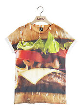 Batch1 Burger All Over Fashion Print Fun Novelty Fast Food Unisex T-shirt L