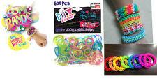 Diy 600 Color Arco Iris De Goma Telar Bandas Pulsera kit de elaboración de los niños Artesanales