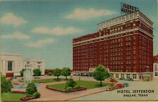 1952 Exterior Street View Old Cars Hotel Jefferson Dallas Texas TX Postcard C5